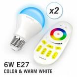 AppLamp Set of two RGBW 6 Watt E27 LED light bulbs + remote control
