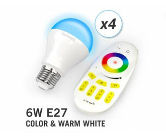 AppLamp Set of 4 RGBW 6 Watt E27 LED light bulbs + remote control