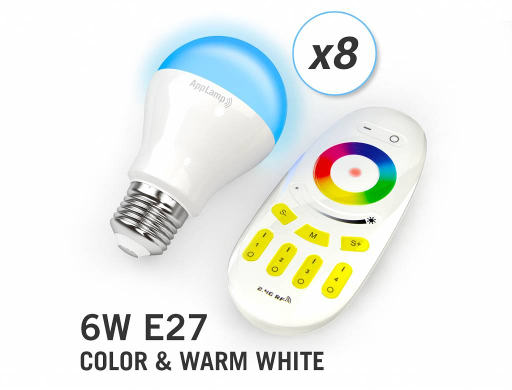 AppLamp Set of 8 RGBW 6 Watt E27 LED light bulbs + remote control