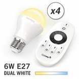 AppLamp Set of 4 E27 Dual White 6W LED bulbs + Remote control