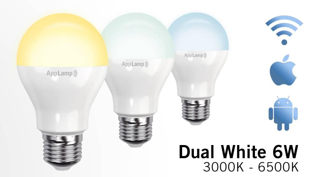 AppLamp Set of 6 E27 Dual White 6W LED bulbs + Remote control
