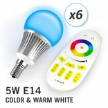 AppLamp Set of 6 RGBW 5 Watt E14 LED light bulbs + remote control