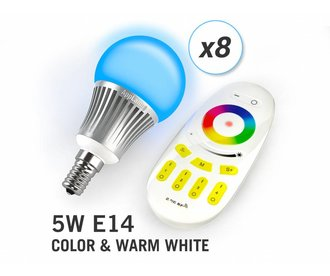 AppLamp Set of 8 RGBW 5 Watt E14 LED light bulbs + remote control