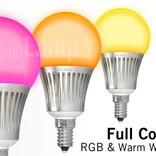 AppLamp Set of 8 RGBW 5 Watt E14 LED light bulbs + remote control