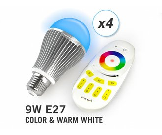 AppLamp Set of 4 Multicolor RGBW 9W LED bulbs + Remote control