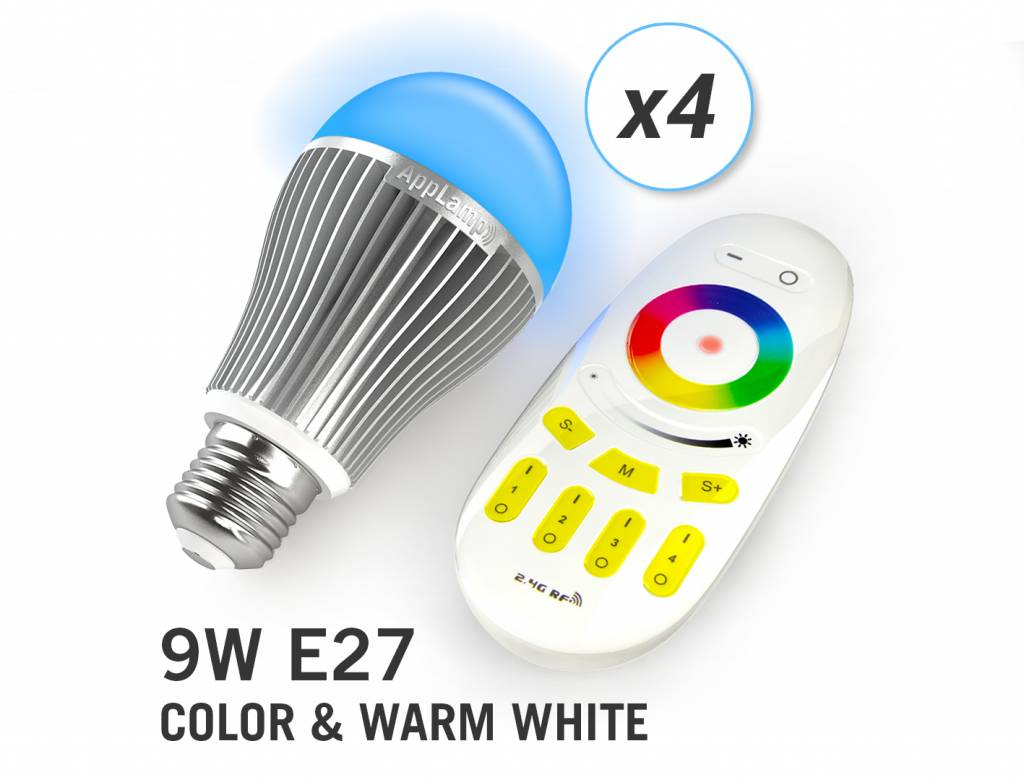 AppLamp Set of 4 wireless Multicolor RGBW 9W LED bulbs + Remote control