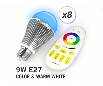 AppLamp Set of 8 Multicolor RGBW 9W LED bulbs + Remote control