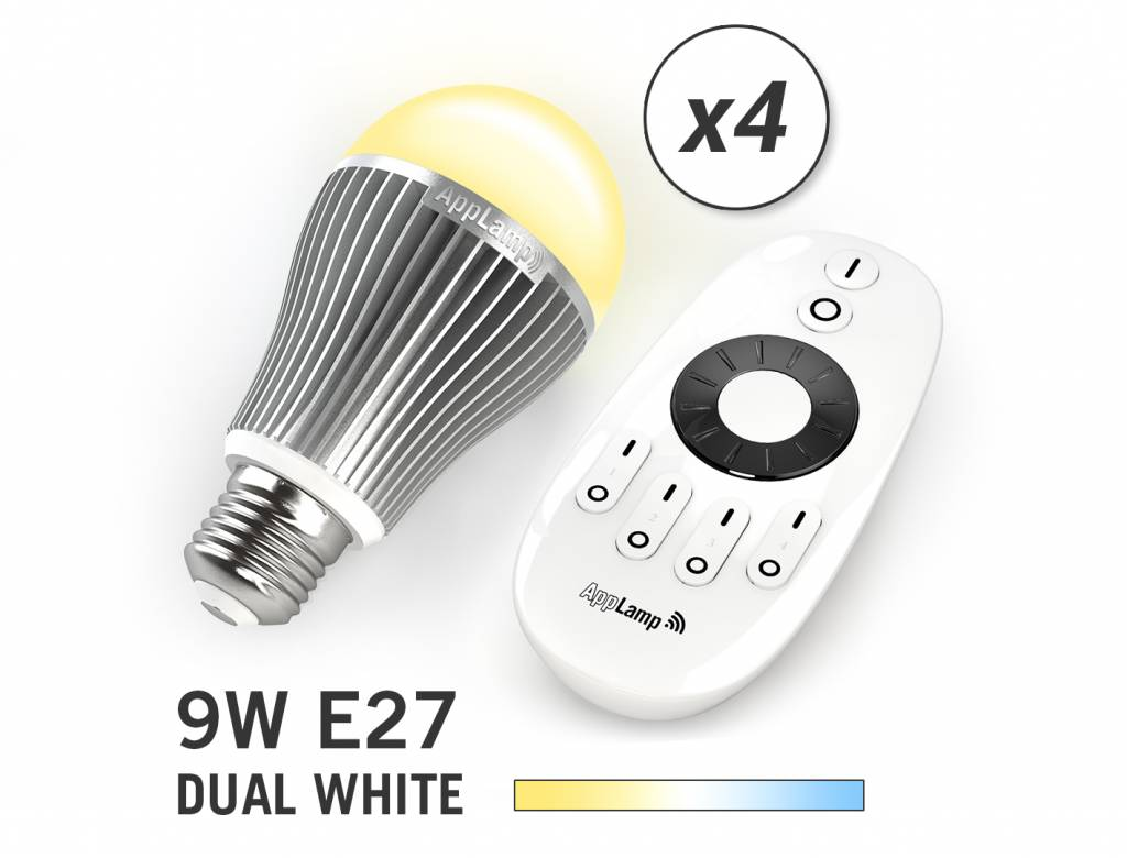 AppLamp Set with 4 Dual White LED bulbs + Remote control