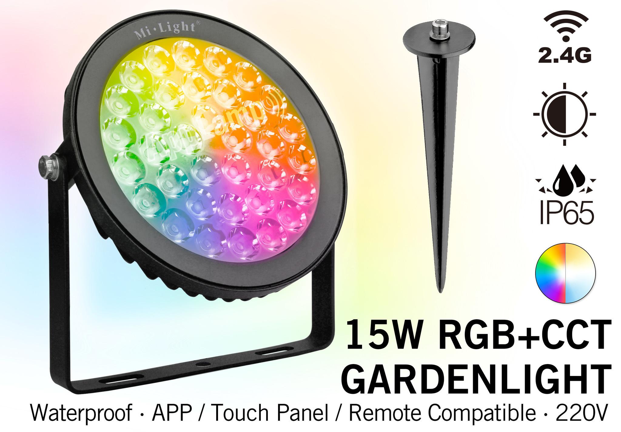 MiLight Mi-light 15W RGBWW 220V IP65 LED Prikspot Tuin.  RGB Kleur +Dual White