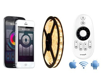 Wifi kit with Warm Witte LED strip, 5M type 5050, 72W. Wifi and RF remote control