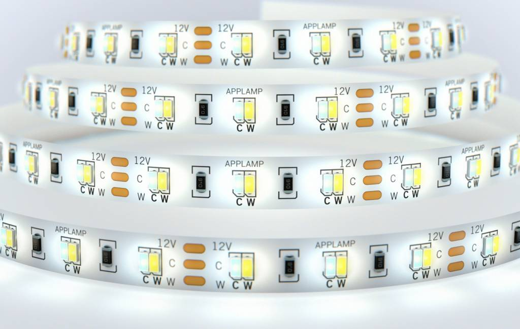 WiFi set Dual White LED strip 600 leds. Variable color temperature 2600K~6000K