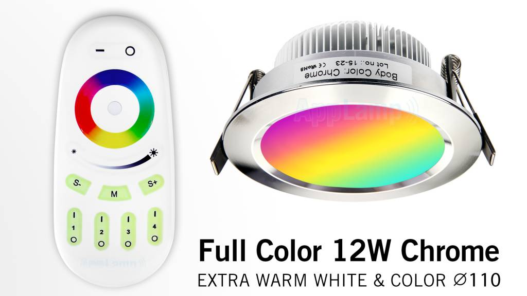 AppLamp Sets with MultiColor 12W RGBW LED Recessed Downlights + RF Remote, dimmable 12 Watt 230V