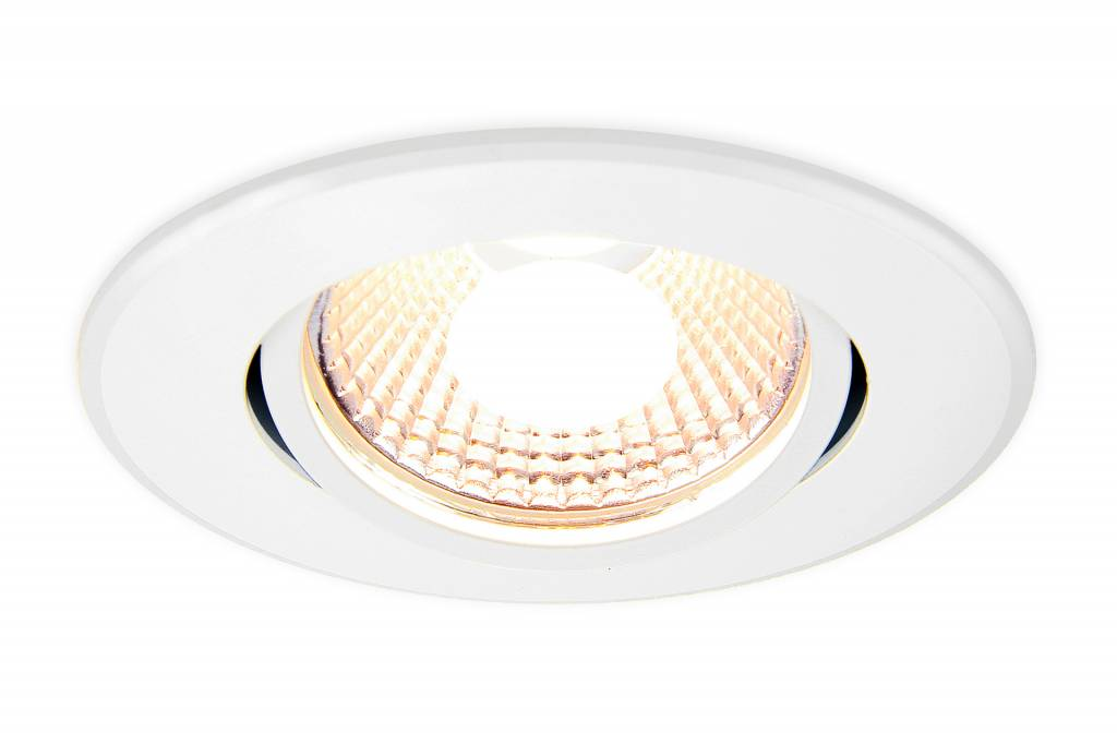 AppLamp 6 Watt Dual White LED tiltable recessed downlight. 230Volt Driver/controller included. Satin gloss white