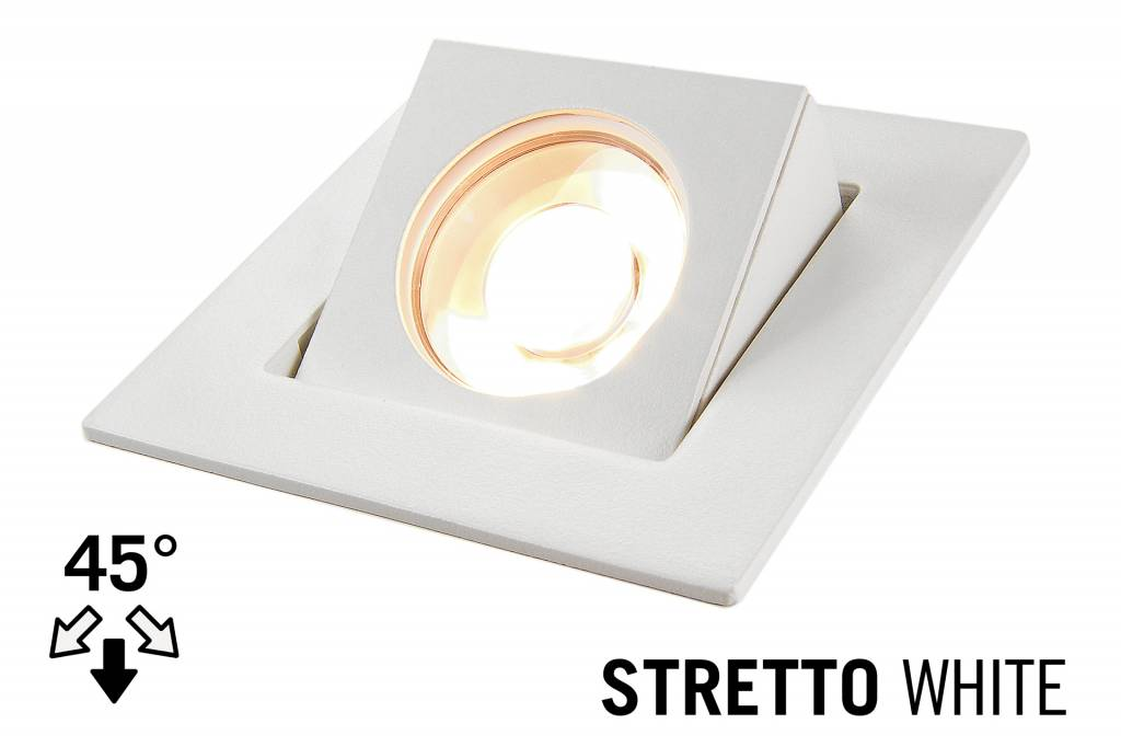 LED Recessed lighting trim STRETTO, GU10 Fixture, White Square, Tiltable 37°