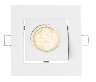 LED Recessed lighting trim STRETTO, GU10 Fixture, White Square, Tiltable 37°