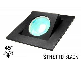 LED Recessed lighting trim STRETTO, GU10 Fixture, Black Square, Tiltable 37°