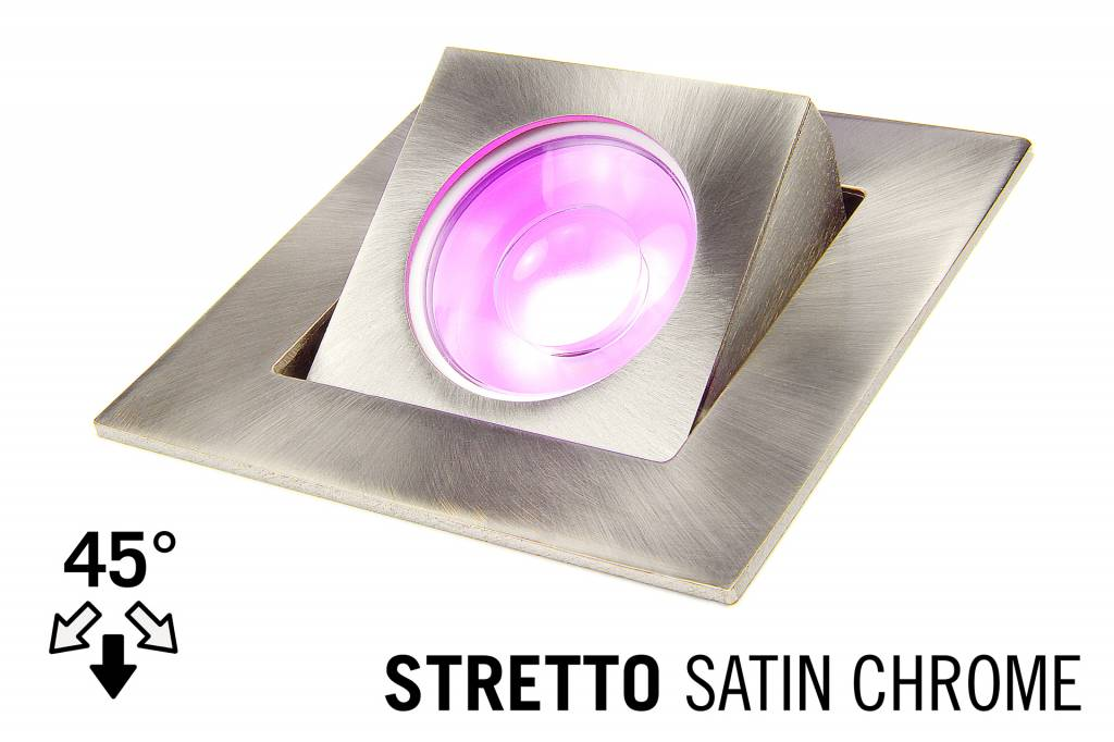 LED Recessed lighting trim STRETTO, GU10 Fixture Satin Chrome Square, Tiltable 37°