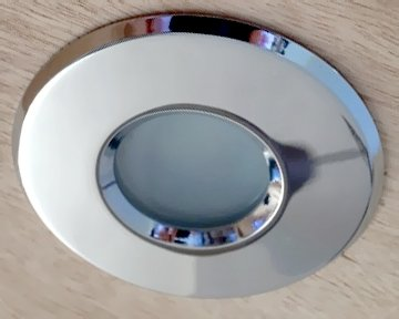 LED Recessed lighting trim PLUVIA, GU10 Fixture, Chrome Gloss Round, IP54 Bathroom