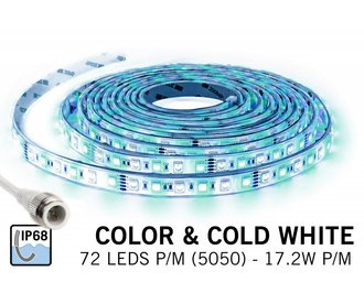 IP 68 fully waterproof RGBW LED strip full color + cool white, 360 leds 12V, 5 meter