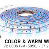 Waterproof RGBW LED ribbon, IP68 with 360 leds, 5 m.,12V 17 W/m.