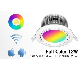 12 Watt LED RGBW Downlight, Full Color RGB and 2700K Warm White