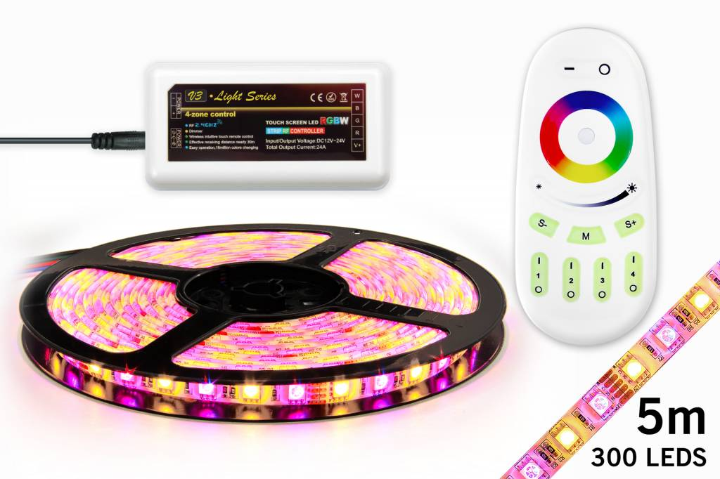 AppLamp RGBW LED strip set 300 leds, Warm White & RGB color, 5M. with RF remote control