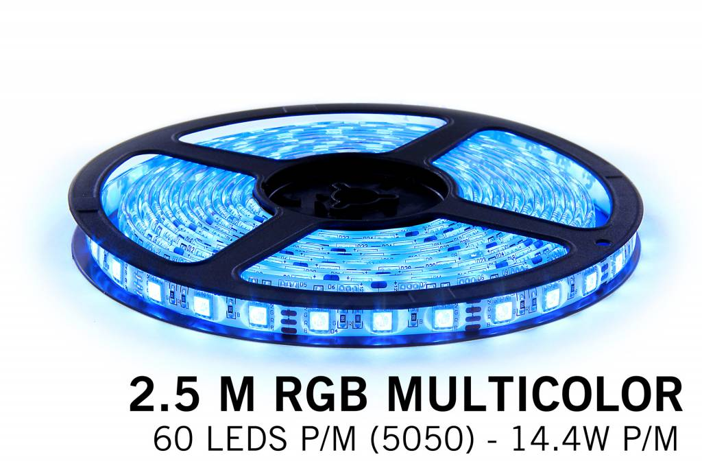 RGB LED strip 2,5 meter, 150 SMD5050 leds