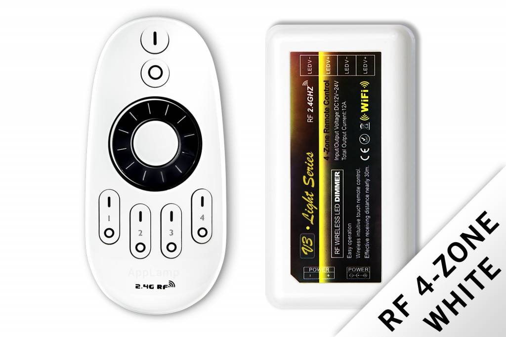 Dimmer controller set with RF remote control for use with white ledstrips, 12-24V, 12A