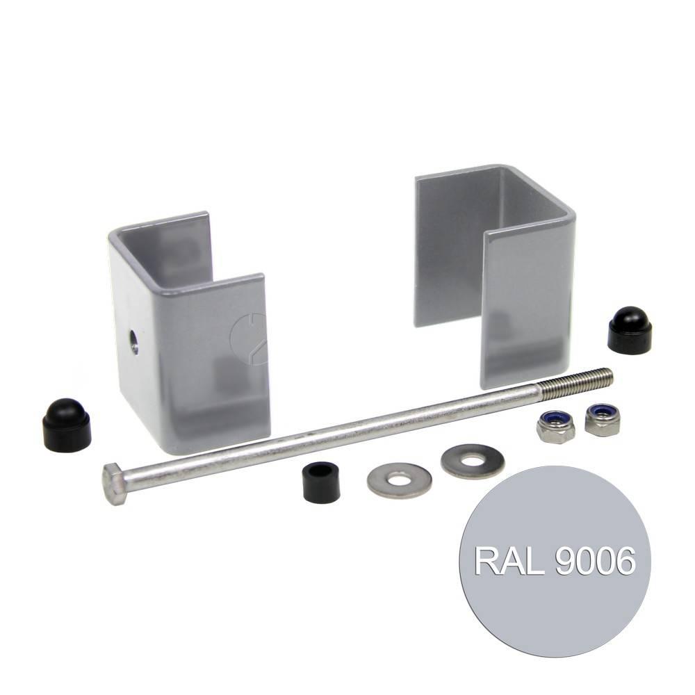 fensofill EASYFIX abrazaderas poste 120x40 Gris Plata 9006 5pc