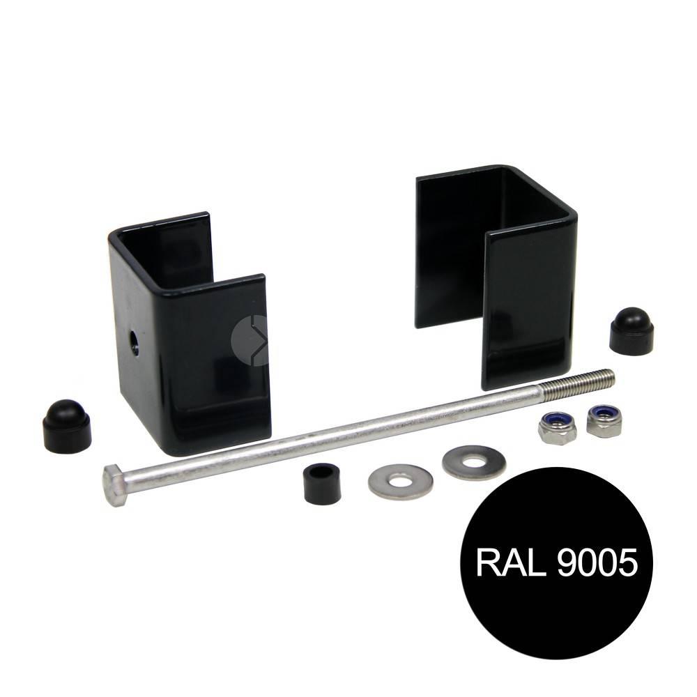 fensofill EASYFIX Colliers poteau 120x40 Noir 9005 5pc