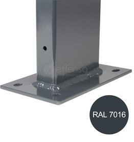 fensofill EASYFIX Pfosten Fussplatte H:155cm  RAL9006