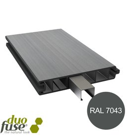 Duo Fuse Vlakke plank tand en groef L:180cm graphite black