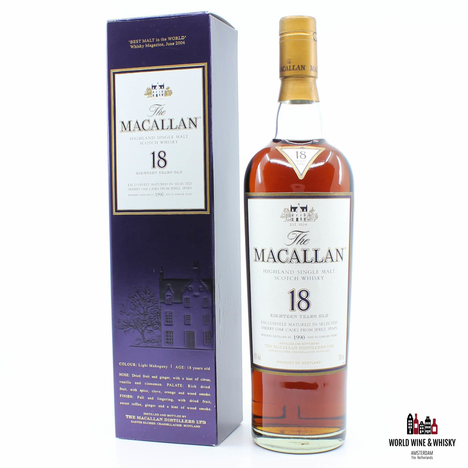The Macallan 18 Years Old 1990 2008 Sherry Oak 43%.