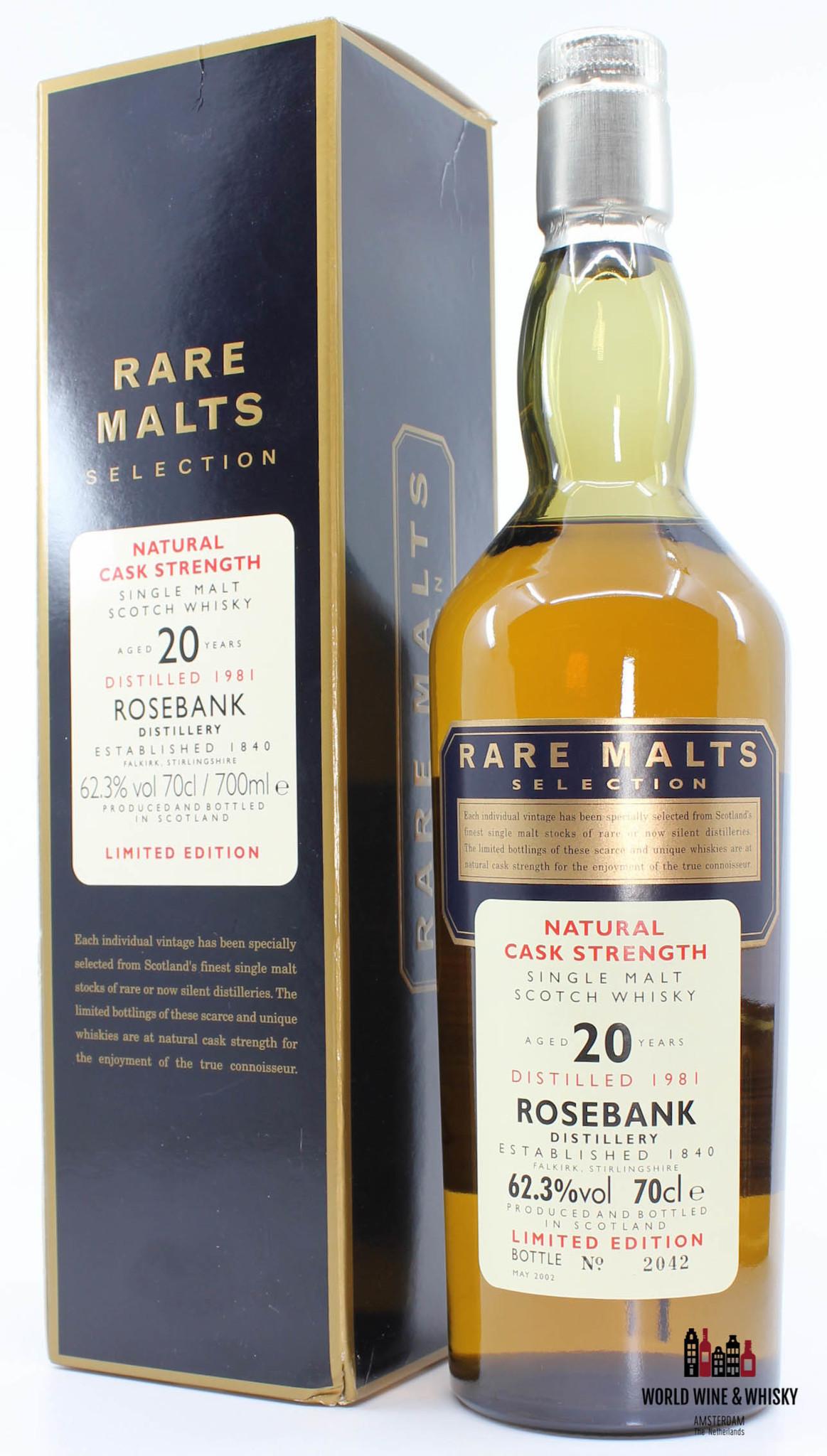 Rosebank Rosebank 20 Years Old 1981 2002 Rare Malts Selection 62.3% in cardboard case (Decommissioned)