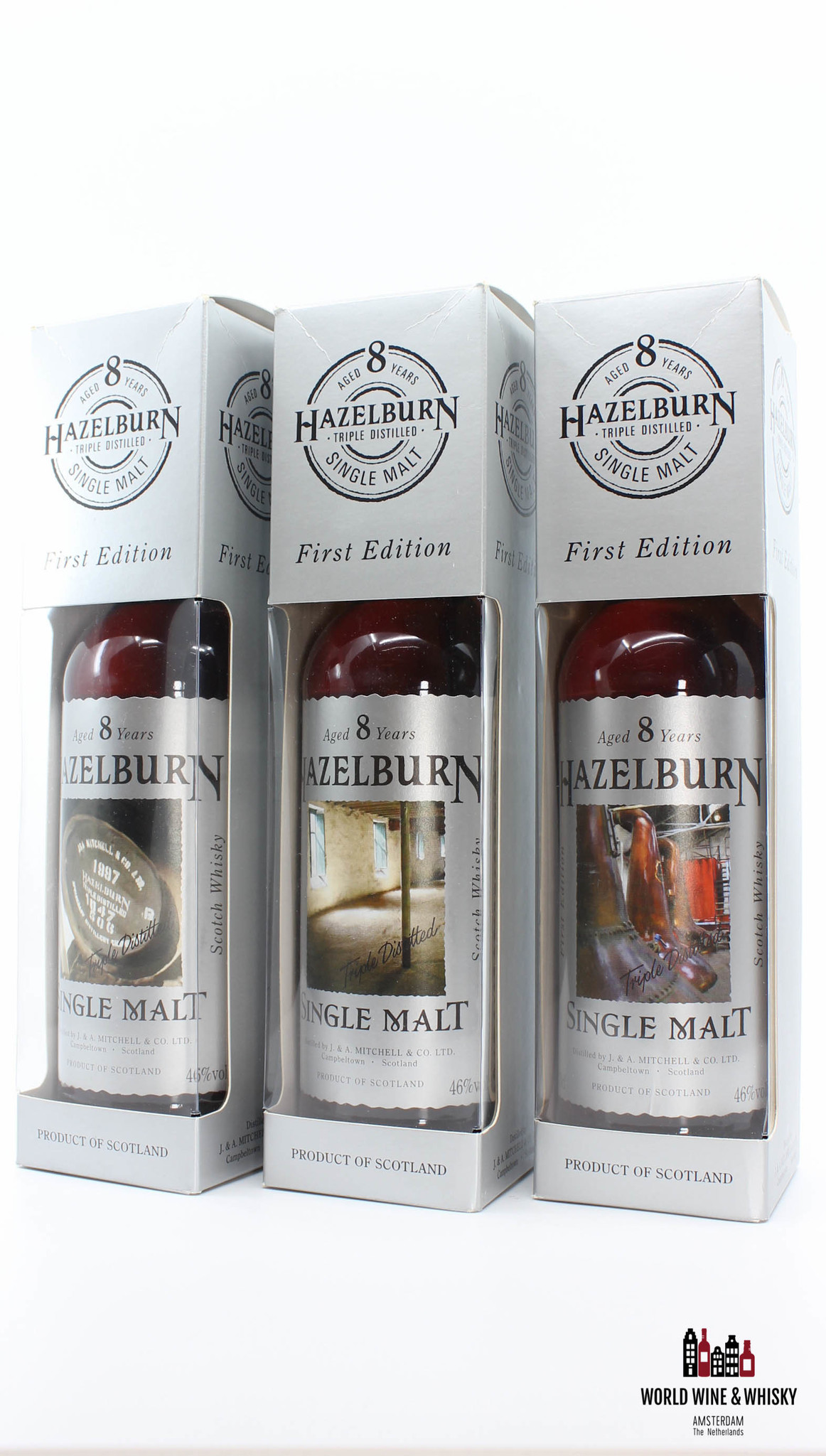 Springbank Hazelburn 8 Years Old 1997 2005 First Edition - Barrel, Malting and Stills set 46% 700 ml (full set)