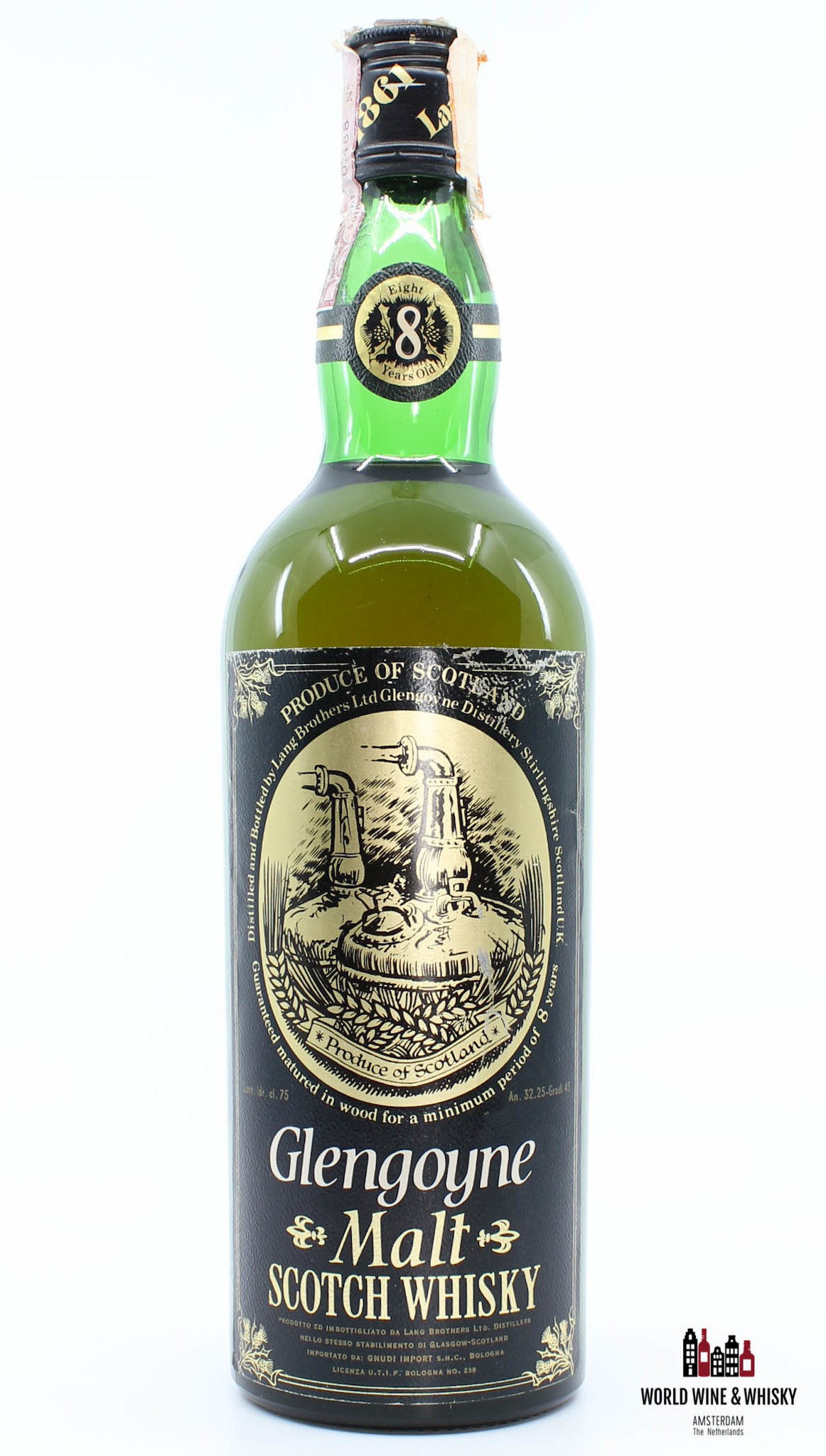 Glengoyne Glengoyne 8 Years Old Malt Black and Gold label (from the 80s) 43% (75 cl)