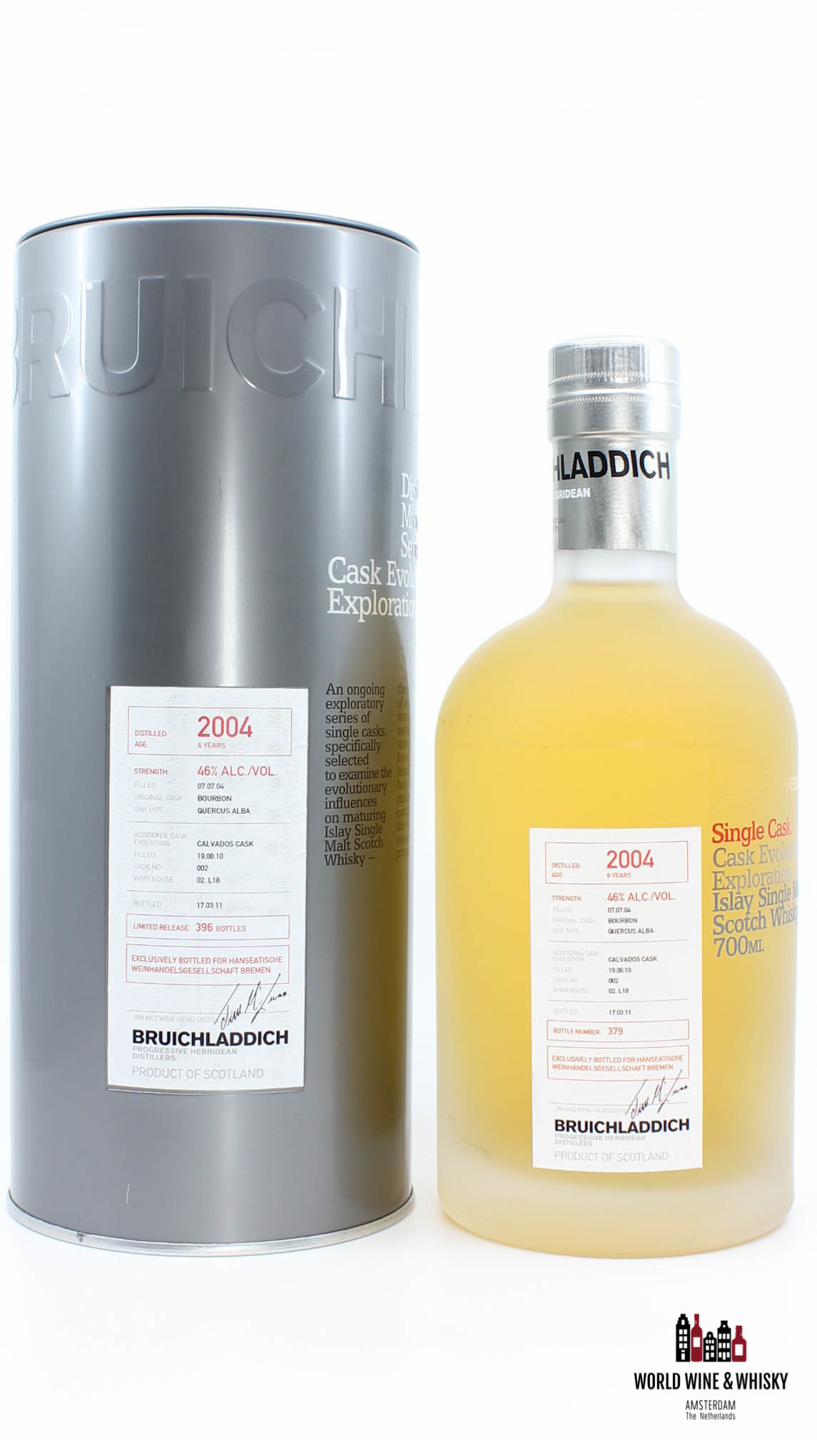 Bruichladdich Bruichladdich 6 Years Old 2004 2011 (filled in 2010) Cask 002 46%