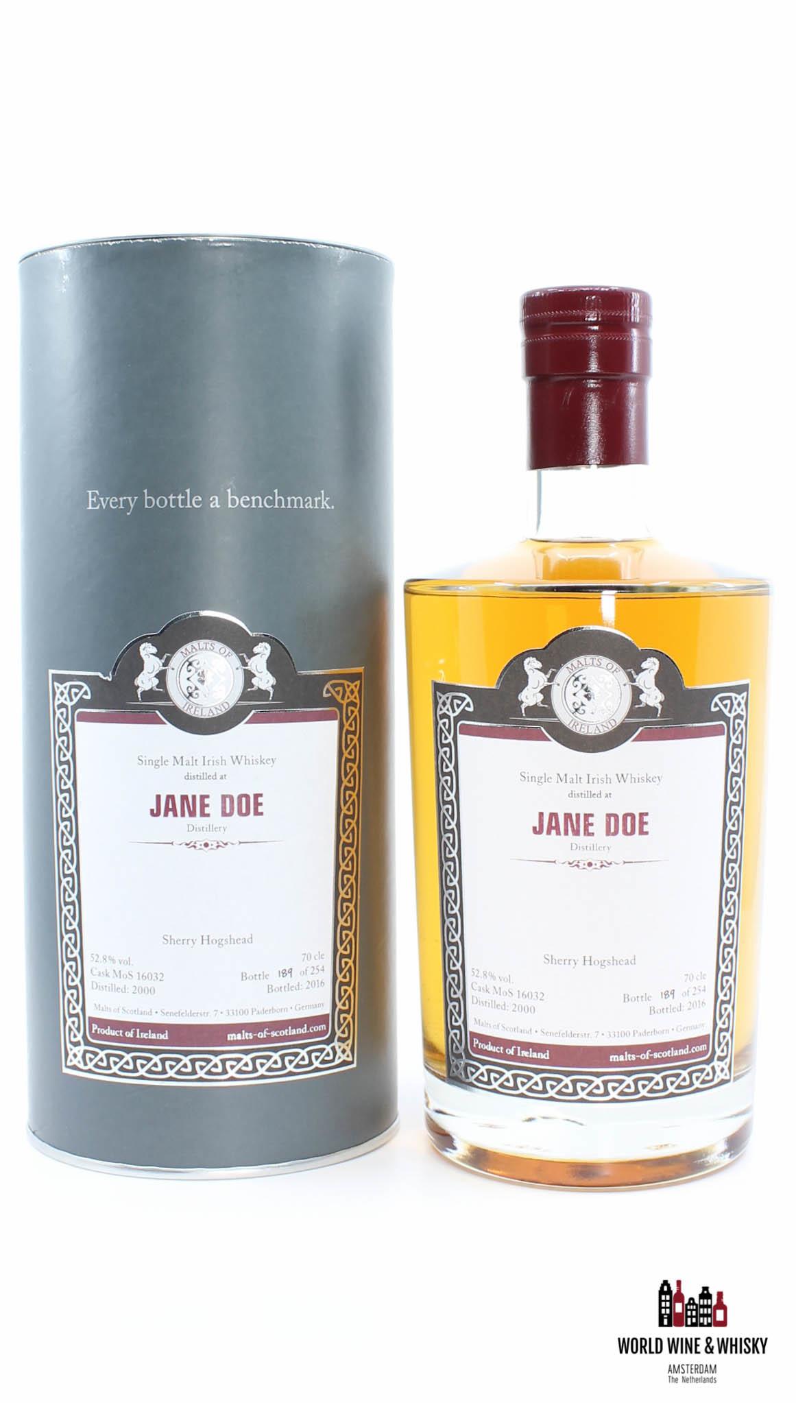 Jane Doe Jane Doe 16 Years Old 2000 2016 Malts of Scotland - Cask MoS 16032 52.8% (one of 254 bottles)