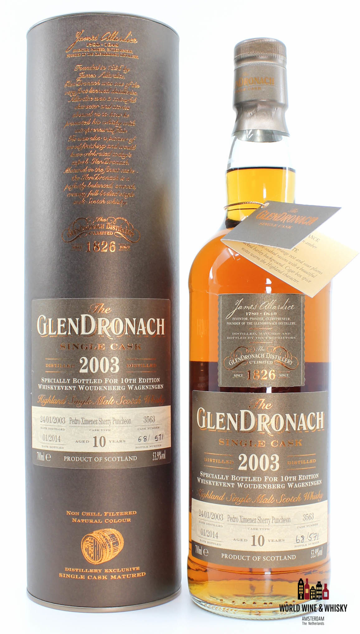 Glendronach Glendronach 10 Years Old 2003 2014 Single Cask - Cask 3563 - 10th Edition Whiskyevent Woudenberg Wageningen 53.9%
