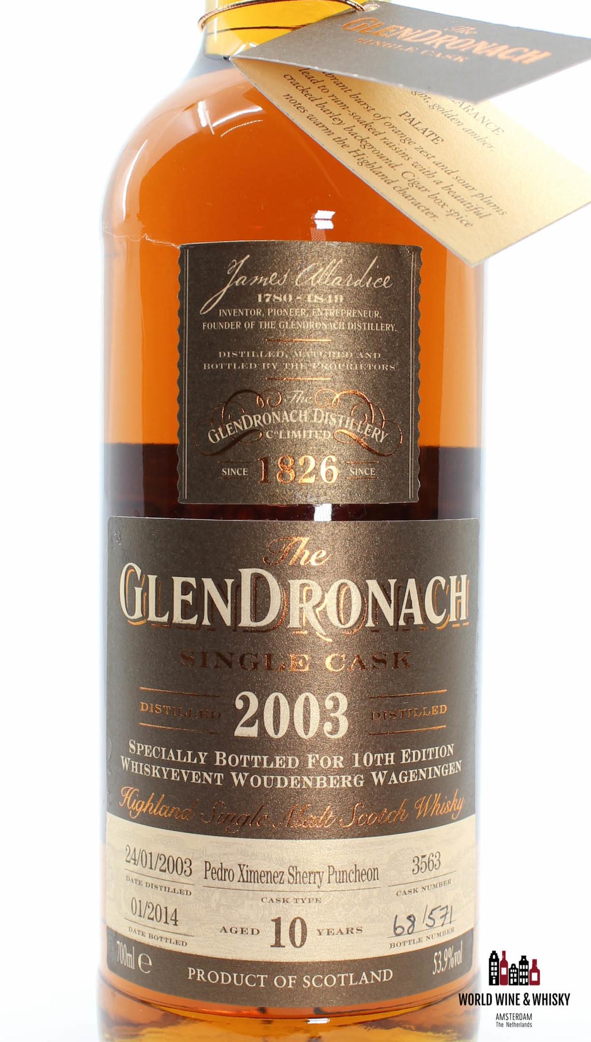 Glendronach Glendronach 10 Years Old 2003 2014 Single Cask - Cask 3563 - 10th Edition Whiskyevent Woudenberg Wageningen 53.9%