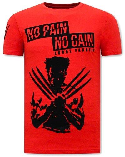 Local Fanatic T-shirt  - Wolverine  X Man - Rood