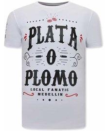 Local Fanatic T-shirt - Narcos Plata O Plomo - Weiß