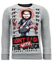 Local Fanatic Sweater Men - Dont Fuck With Chuck - Grau