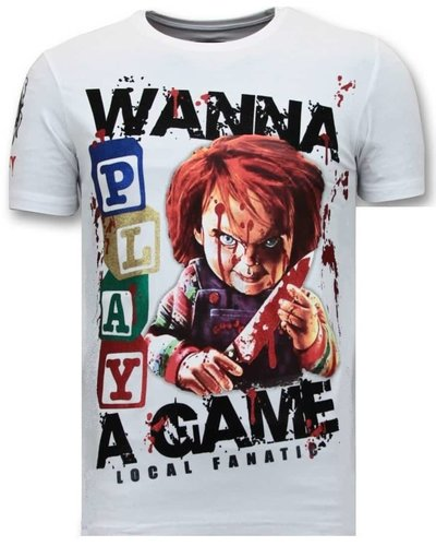 Local Fanatic T-shirt - Wanna Play A Game - Wit