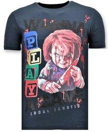 Local Fanatic T-shirt - Wanna Play A Game - Blue