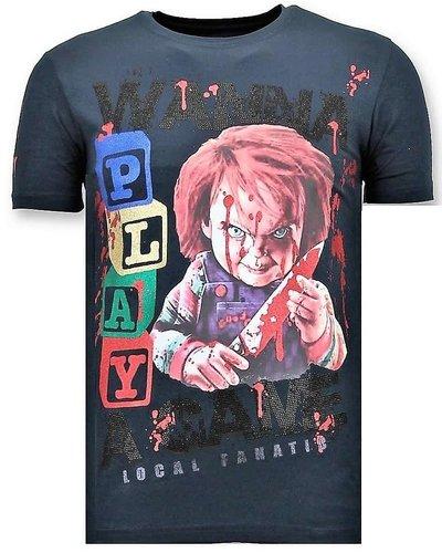 Local Fanatic T-shirt - Wanna Play A Game - Blau