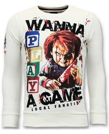 Local Fanatic Sweater Heren - Wanna Play A Game - Wit