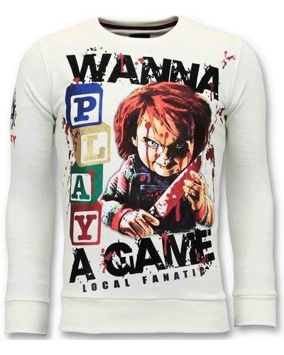 Local Fanatic Sweater Men - Wanna Play A Game - Weiß