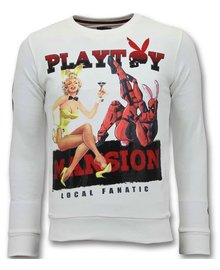 Local Fanatic Sweater Heren - The Playtoy Mansion - Wit