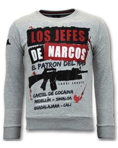 Local Fanatic Sudadera Hombre - Los Jefes De Narcos - Gris